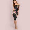 Off Shoulder Sexy Black Floral Dress - HEATHLEAF
