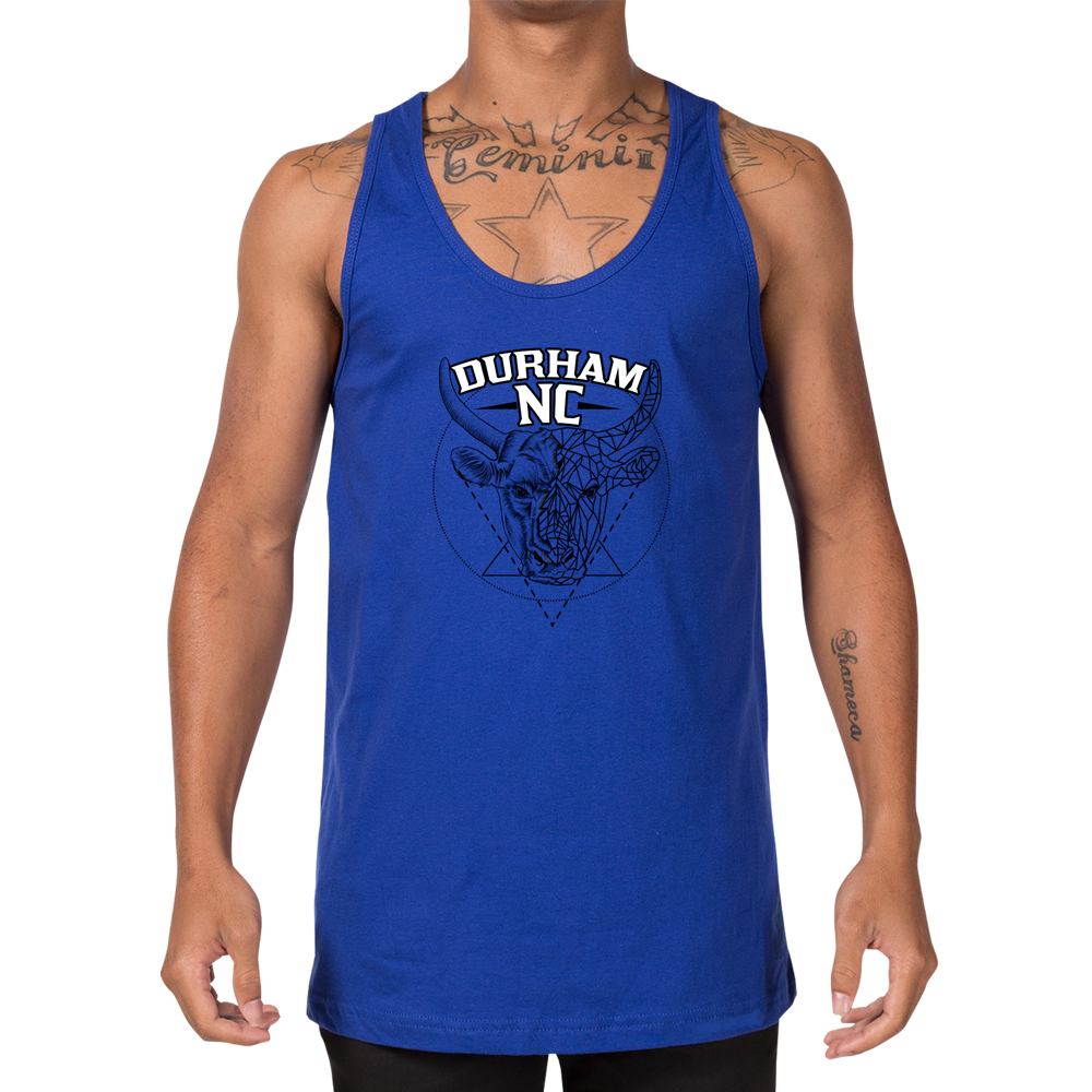 Durham Geometric Bull Head  Tank Top - HEATHLEAF