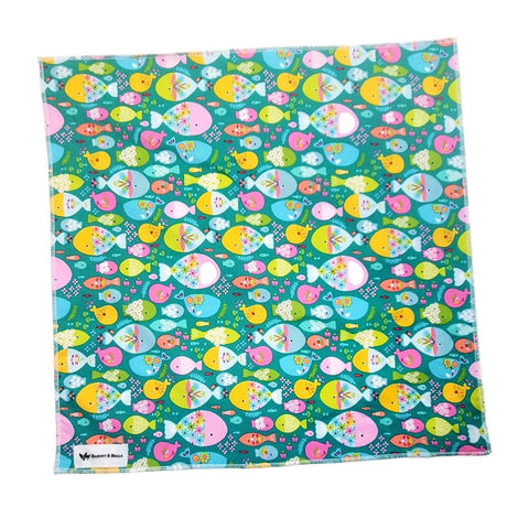 Handmade Square Bandanna-Go Fish Swimming in Green