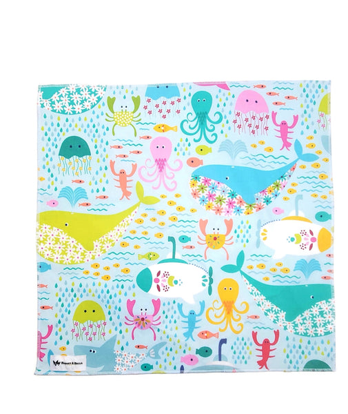 Handmade Square Bandanna-Go Fish Swimming in White