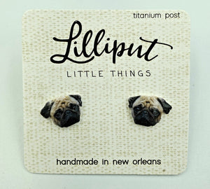 Lilliput Earrings-Pug Dog