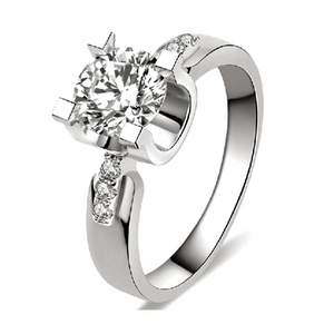 Engagement Ring with Round Cut 1.5 Carat AAA Cubic Zircon - 18K Platinum Plated or Rose Gold Color