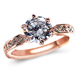 Engagement Ring with 1.75 Carat Round Cut AAA Cubic Zircon Solitaire Silver/Rose Gold Color