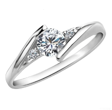 Engagement Ring with Cubic Zirconia Platinum Plated or Rose Gold Color