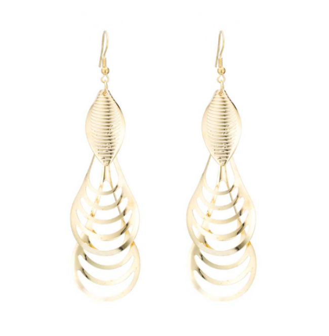 Wind Geometric Multilayer Tassel Drop Earrings - Gold Color or Silver Color