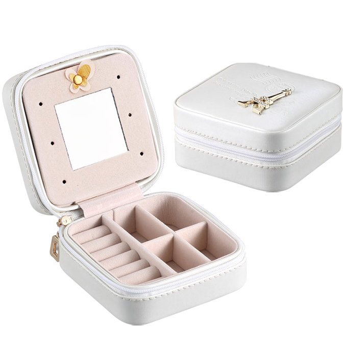 Faux Leather Mini Travel Jewelry Case with Metal Zipper, Mirror Inside - Four Modern Designs