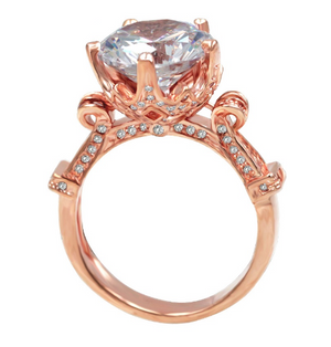 Engagement Ring with Round Cut 6.0 Carat Cubic Zircon Five-Claw Flower Crown Rose Gold Color Plated