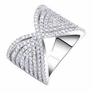 Wedding Ring with Bow Design Round Cut AAA Austrian Cubic Zircon - Nickel Free, Anti-Allergy