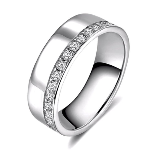 Wedding Band with Round Cut AAA Austrian Cubic Zircon Silver Color or Rose Gold Color - Nickel Free, Anti-Allergy