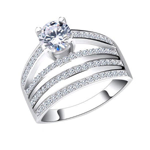 Wedding Ring with 4 Rows Round Cut AAA Austrian Cubic Zircon Platinum Plated - Nickel Free, Anti-Allergy