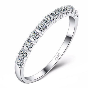 Wedding Band with Cubic Zircon S925 Silver Platinum Plated
