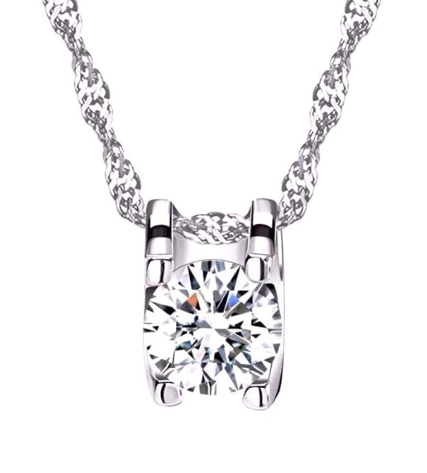 Elegant Pendant Necklace with Heart & Arrow Cut 0.8 Carat AAA Austrian Cubic Zircon - Nickel Free, Anti-Allergy