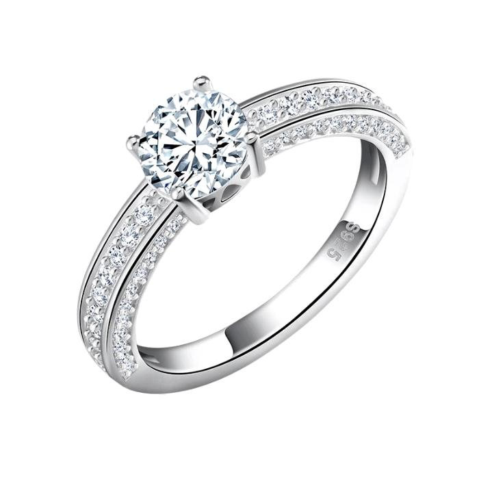 Wedding Ring with Round Cut 0.8 Carat AAA Austrian Cubic Zircon - Nickel Free, Anti-Allergy