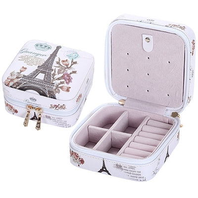 Faux Leather Mini Travel Jewelry Case With Metal Zipper - Light, Portable & Space Saving, Various Styles