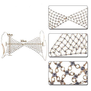 Haut Geometric Rhinestone Bra - Gold Color or Silver Color