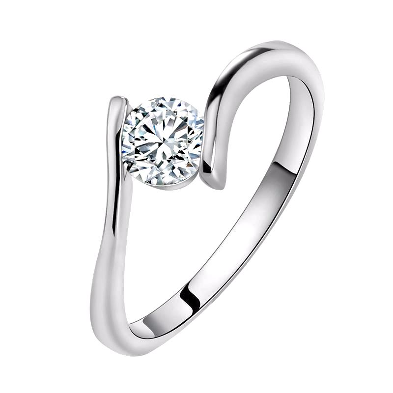 Engagement Ring with Round Cut 0.8 Carat AAA Austrian Cubic Zircon Solitaire  - Lead & Nickel Free, Anti-Allergy