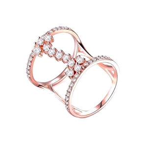 Wedding Ring Set with Geometric Cut AAA Austrian Cubic Zircon Rose Gold/Silver Color - NIckel Free, Anti-Allergy