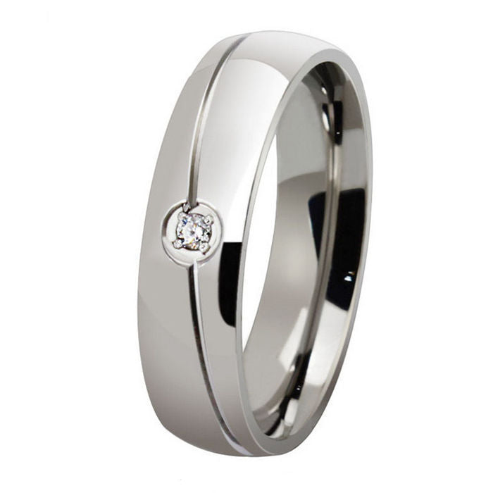 Wedding Band with AAA Austrian Cubic Zircon Highly Polished Stainless Steel - 100% ALLERGY FREE