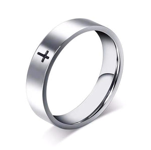 Wedding Band with Stainless Steel and Cross Carving - 100% Allergy Free, Lead Free & Nickel Free