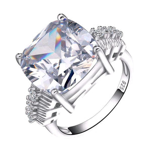 LUXURY Wedding Ring with 8 Carat Cushion Cut Cubic Zircon - Nickel Free, Anti-Allergy