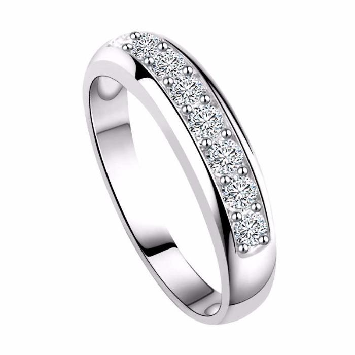 Wedding Band with Round Cut AAA Austrian Cubic Zircon Rose Gold/Sliver Color - Nickel Free, Anti-Allergy