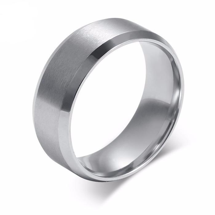 Wedding Band with Stainless Steel Highly Polished Silver Color - 100% ALLERGY FREE, Lead Free & Nickel Free