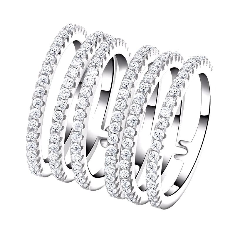 6 Pieces Connected Wedding Band with AAA Austrian Cubic Zircon - Nickel Free, Anti-Allergy