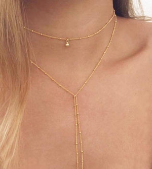 Bohemian Beaded Chain Necklace - Gold or Silver Color with Delicate Pendant