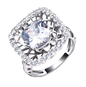LUXURY Wedding Ring with Cushion Cut 4 Carat AAA Austrian Cubic Zircon - Nickel Free, Anti-Allergy