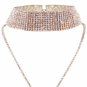 Maxi Round Cut Crystal Rhinestone Choker Necklace - Gold or Silver Color