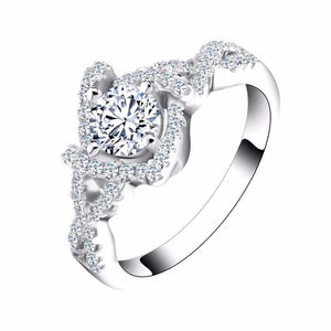 Wedding Ring with Round Cut AAA Austrian Cubic Zircon with Pave Inlay - Nickel Free, Anti-Allergy