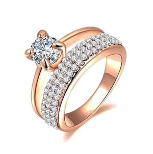 Wedding Ring Set with Round Cut AAA Austrian Cubic Zircon with Pave CZ Rose Gold Color