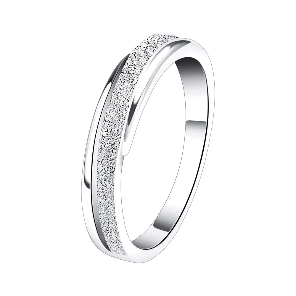 Wedding Band with Bezel Set AAA Cubic Zircon Frosted Surface - Lead & Nickel Free, Anti-Allergy