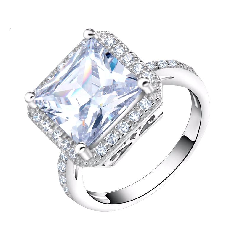 LUXURY Engagement Ring with Square Cut 5 Carat AAA Austrian Cubic Zircon - Nickel Free, Anti-Allergy