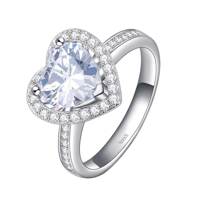 Engagement Ring with Heart Cut 1.75 Carat AAA Austrian Cubic Zircon - Lead & Nickel Free, Anti-Allergy