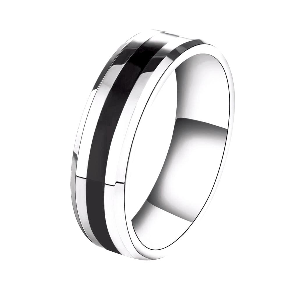 Wedding Band with Stainless Steel and Black Plating - 100% ALLERGY FREE