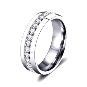 Wedding Band with Round Cut AAA Cubic Zircon Stainless Steel Silver Color or Gold Color - Nickel Free, Anti-Allergy