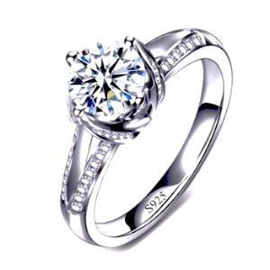 Wedding Ring with Heart & Arrow Cut 1.5 Carat AAA Cubic Zircon Platinum Plated