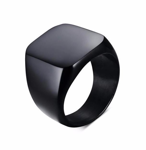 Wedding Band with Stainless Steel - Solid Black Plating or Silver Color