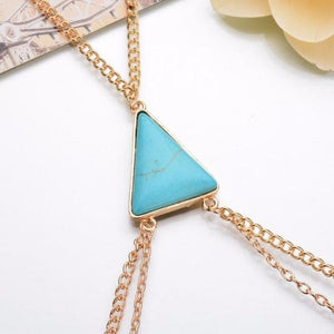 Body Chain Necklace 18K Gold Plated - Gold Color or Silver Color with Turquoise or Beige Pendant