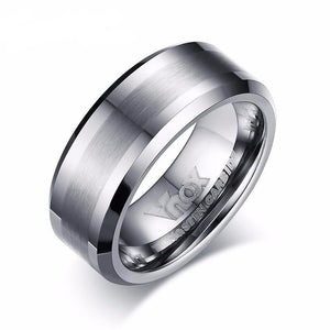Wedding Band Men with Textured Tungsten Carbide Matte Finish