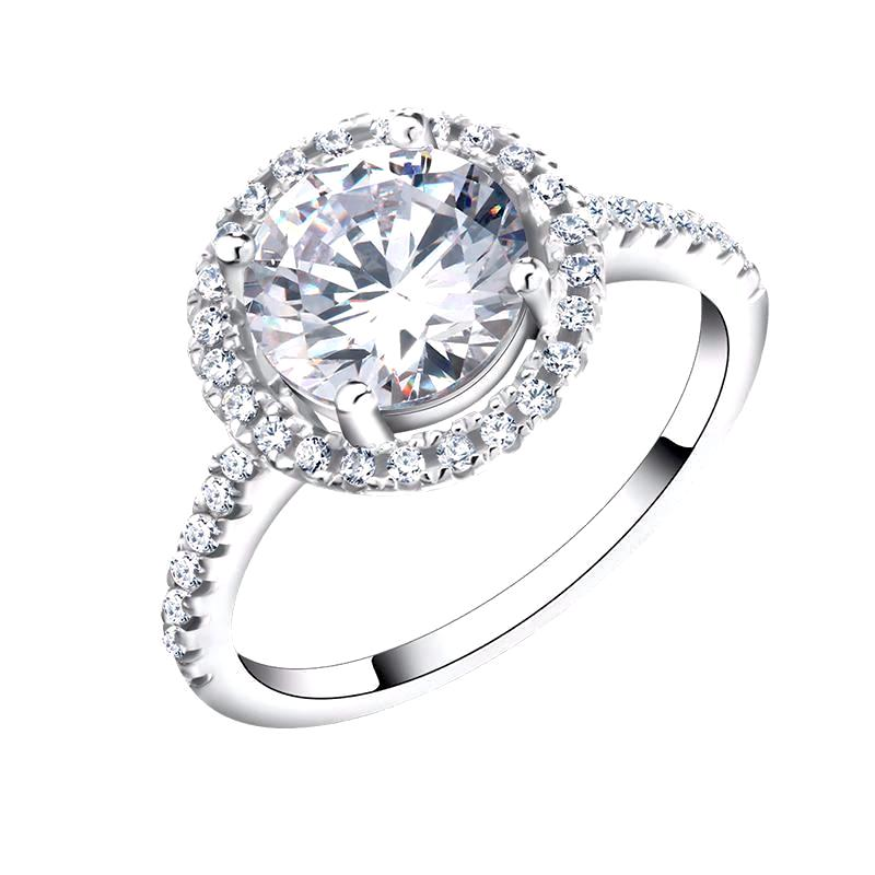 LUXURY Engagement Ring with Round Cut 1.4 Carat AAA Austrian Cubic Zircon with Micro Pave - Nickel Free, Anti-Allergy