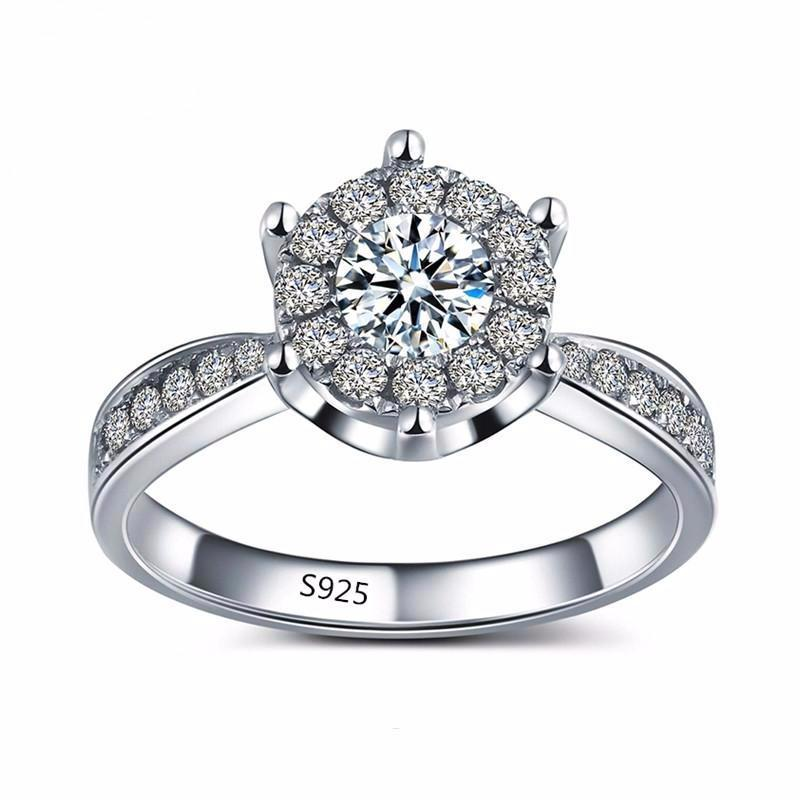 Engagement Ring With Halo Geometric Cut AAA+ Cubic Zircon S925 Silver Plated - Nickel Free, Anti-Allergy