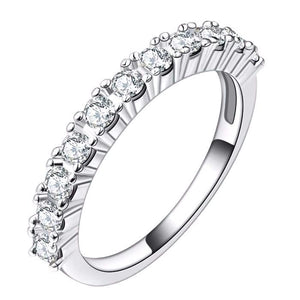 Wedding Band With Round Cut AAA+ Cubic Zircon S925 Silver Plated - Nickel Free, Anti-Allergy