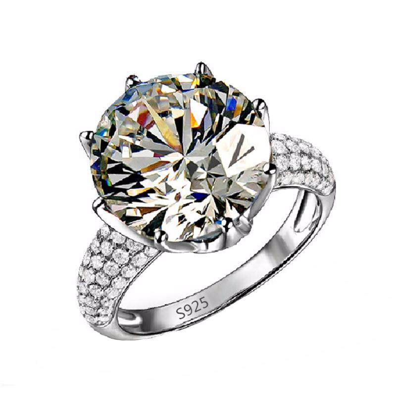 LUXURY WEDDING RING WITH HEARTS & ARROWS CUT 8 CARAT AAA CUBIC ZIRCON PLATINUM PLATED
