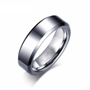 Wedding Band with Pure Tungsten Carbide Highly Polished - Black Plating Option or Silver Color