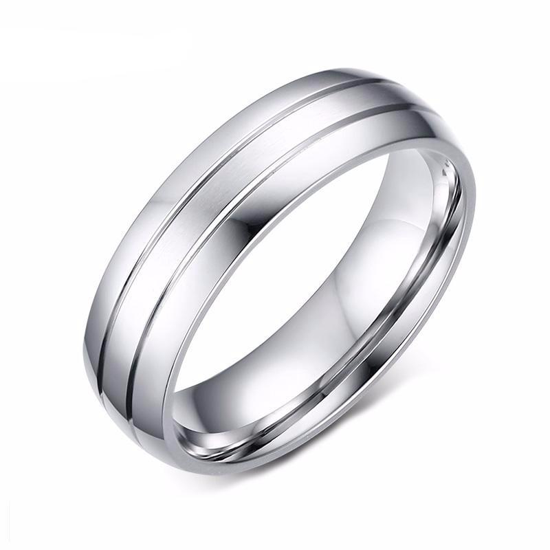 Wedding Band with Stainless Steel Metal - Engraved