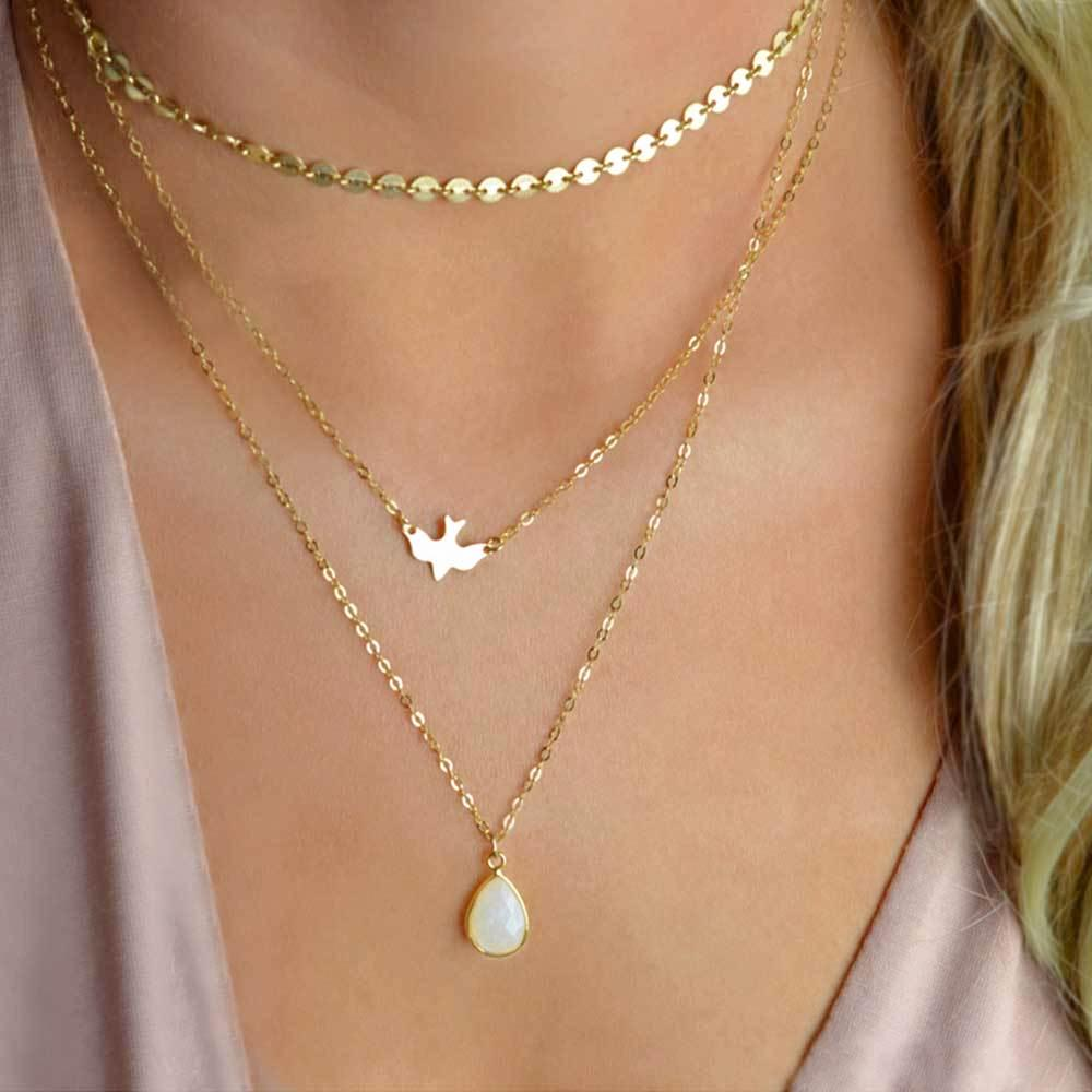 Sequins Dove & Water Drop Pendant Necklace - Gold or Silver Color, Multilayer