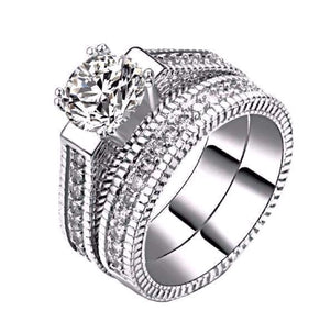 Wedding Ring Set With Round Cut AAA+ Cubic Zircon 18K Platinum Plated - Nickel Free, Anti-Allergy