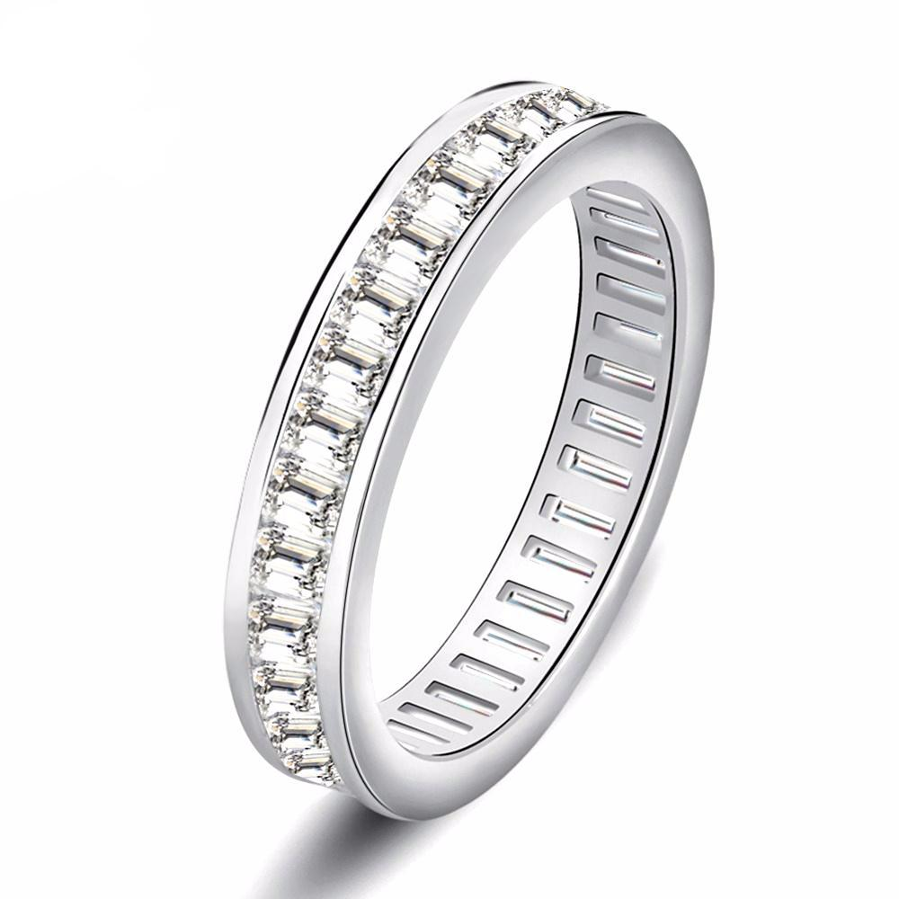Wedding Band with Rectangle Cut AAA Austrian Cubic Zircon - Nickel Free, Anti-Allergy
